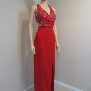 Gorgeous red maxi dress beaded top sz 2